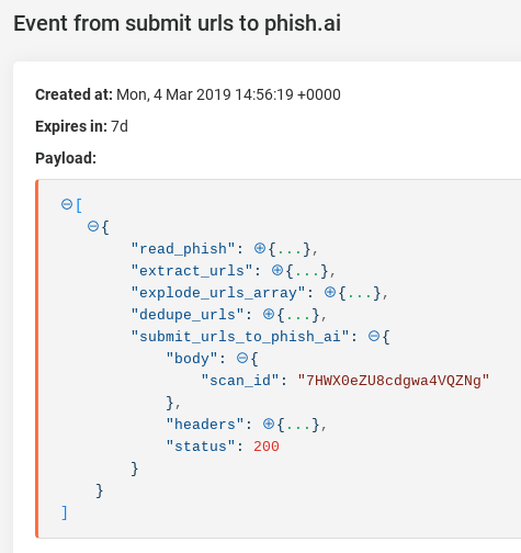 The event response information from a phish.ai scan