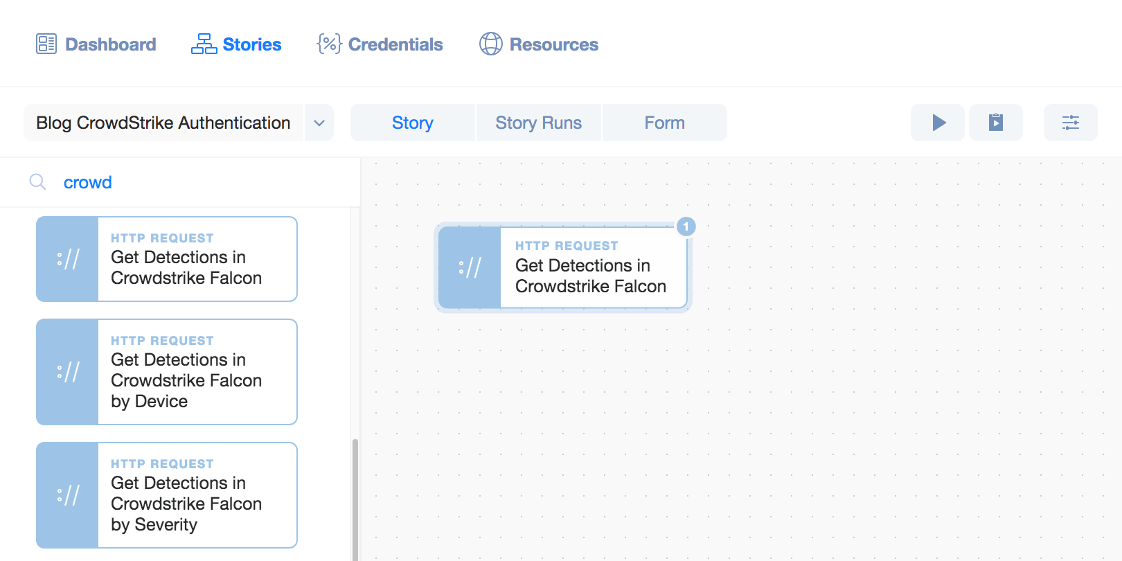 Tines: CrowdStrike Falcon agent drag and drop to the storyboard.