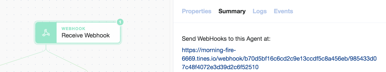 Tines: Empty Webhook agent for receiving, you guessed it, webhooks!