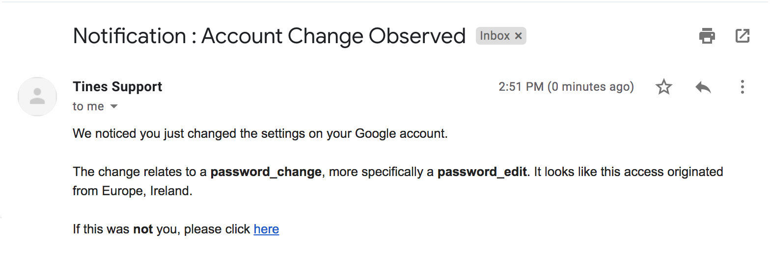 Tines: Email to a user to confirm or deny whether the recent account change was them.