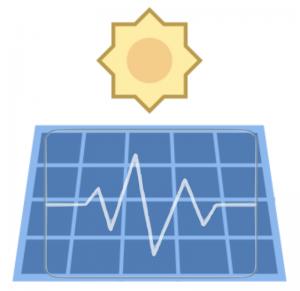 Icon einer Sonne und icon eines Solarmoduls