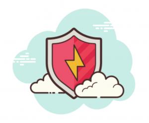 Icon eines Schilds mit Blitz und Wolken