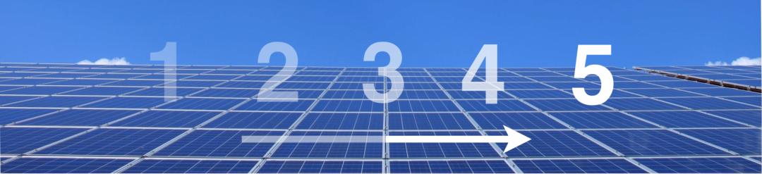 Solarstrom, der durch Photovoltaik erzeugt wird, blauer Himmel und die Zahlen 1 bis 5