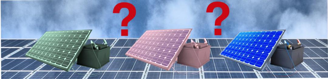 drei verschiedene Solarbatterien mit Solaranlage im Hintergrund
