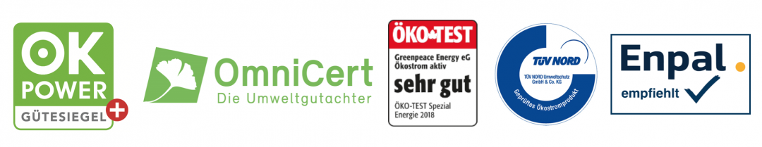 Auszeichnungen und Grünstrom Siegel vom Grünstrom Anbieter Greenpeace Energy
