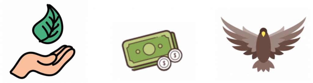 lohnt sich eine Photovoltaikanlage? Umwelt Symbol - offene Hand mit Blatt, Geld Symbol - grüne Geldscheine und zwei weiße Münzen, Adler mit ausgestreckten Flügeln