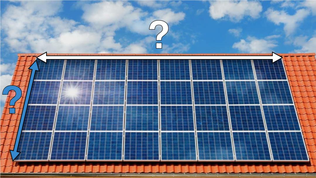 Solaranlage auf einem Dach mit zwei Pfeilen und zwei Fragezeichen