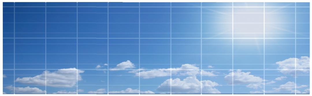 Solarpanel mit Sonne und Wolken