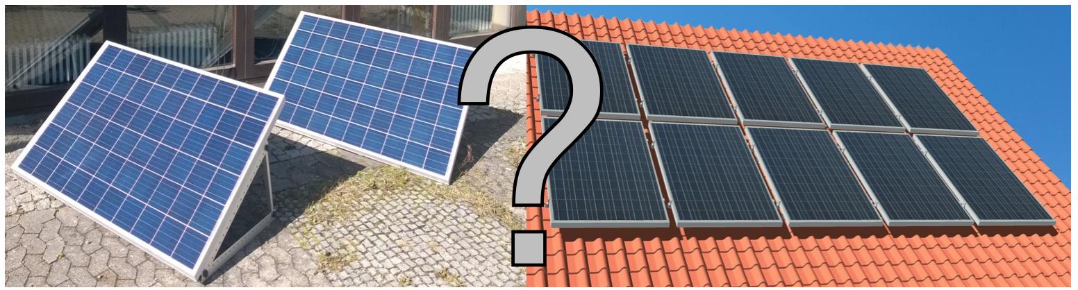 Mini-PV Anlage neben einer herkömmlichen Solaranlage gegenübergestellt
