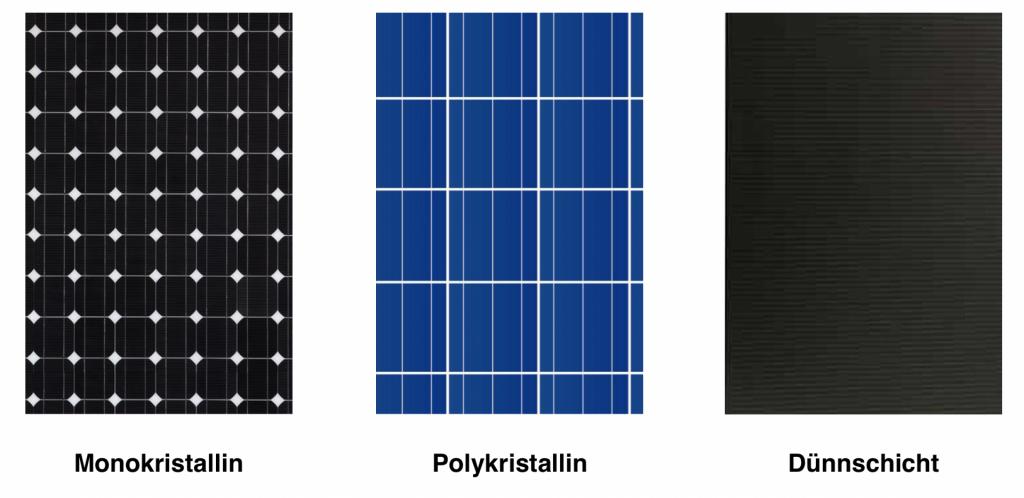 Drei verschiedene Arten von Solarzellen in einer Reihe. Monokristalline, polykristalline Zellen und ein Dünnschichtmodul