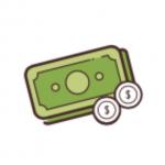 Strom selbst erzeugen - Geld Symbol - grüne Geldscheine und zwei weiße Münzen