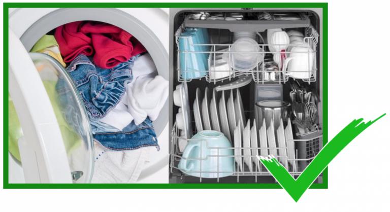 Eine volle Geschirrspülmaschine und eine volle Waschmaschine