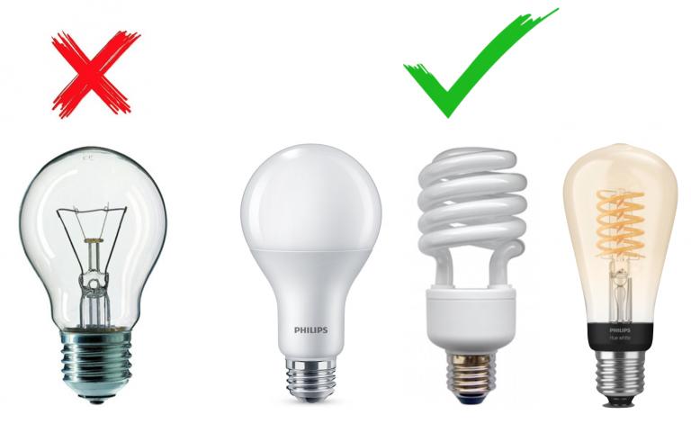 eine Glühbirne, zwei Energiesparlampen und eine LED-Lampe zum Strom sparen