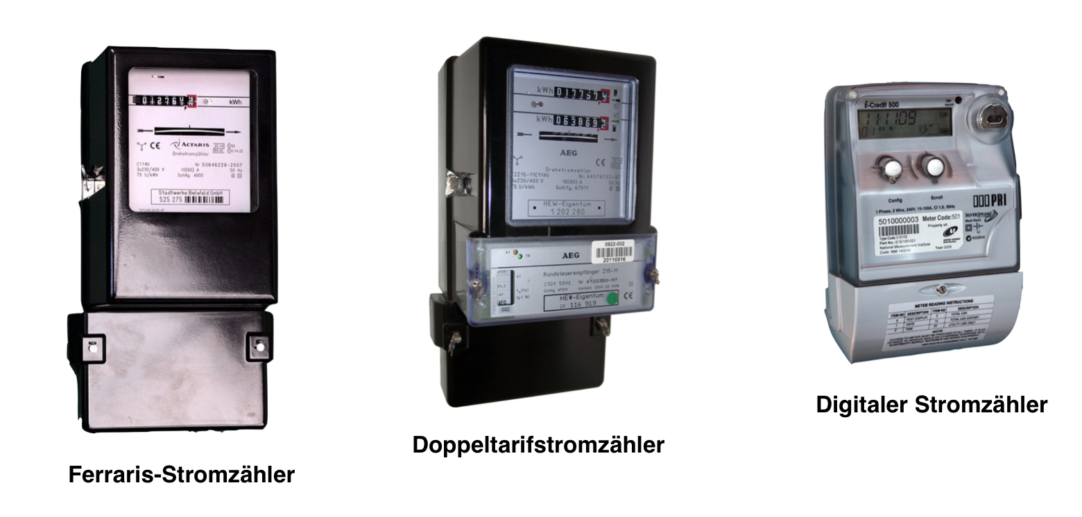 drei verschiedene Stromzähler für die Photovoltaik Komplettanlage