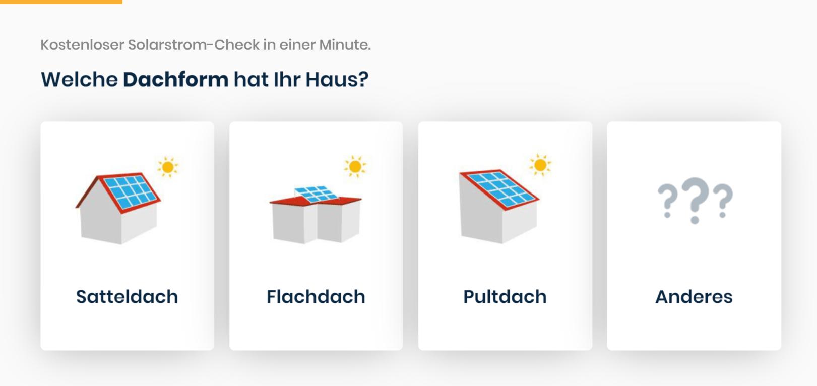 Der Solarcheck von Enpal mit vier Buttons zum Clicken