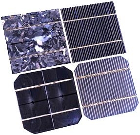 Vier unterschiedliche Arten con Solarzellen nebeneinander