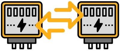 Zwei Stromzähler nebeneinander mit zwei gelben Pfeilen, die einen Tausch darstellen