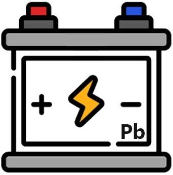 Eine stilisierte Blei-Säure-Batterie