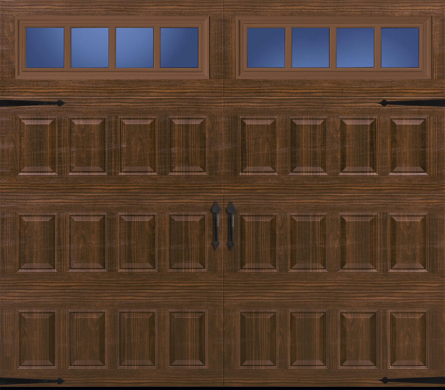 amarr carriage house hillcrest raised short panel walnut long panel thames windows rw garage doors