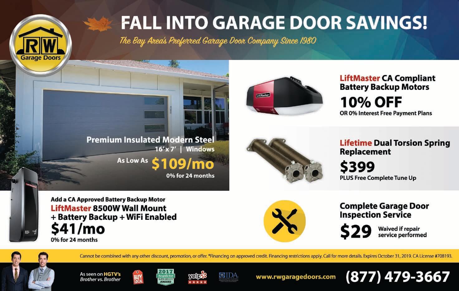RW Garage Doors Fall Promotions