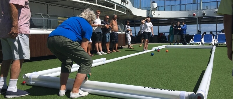 bocce ball being played on a cruise ship