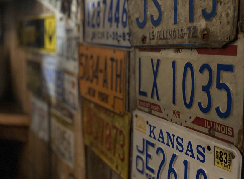 license plates as decorations