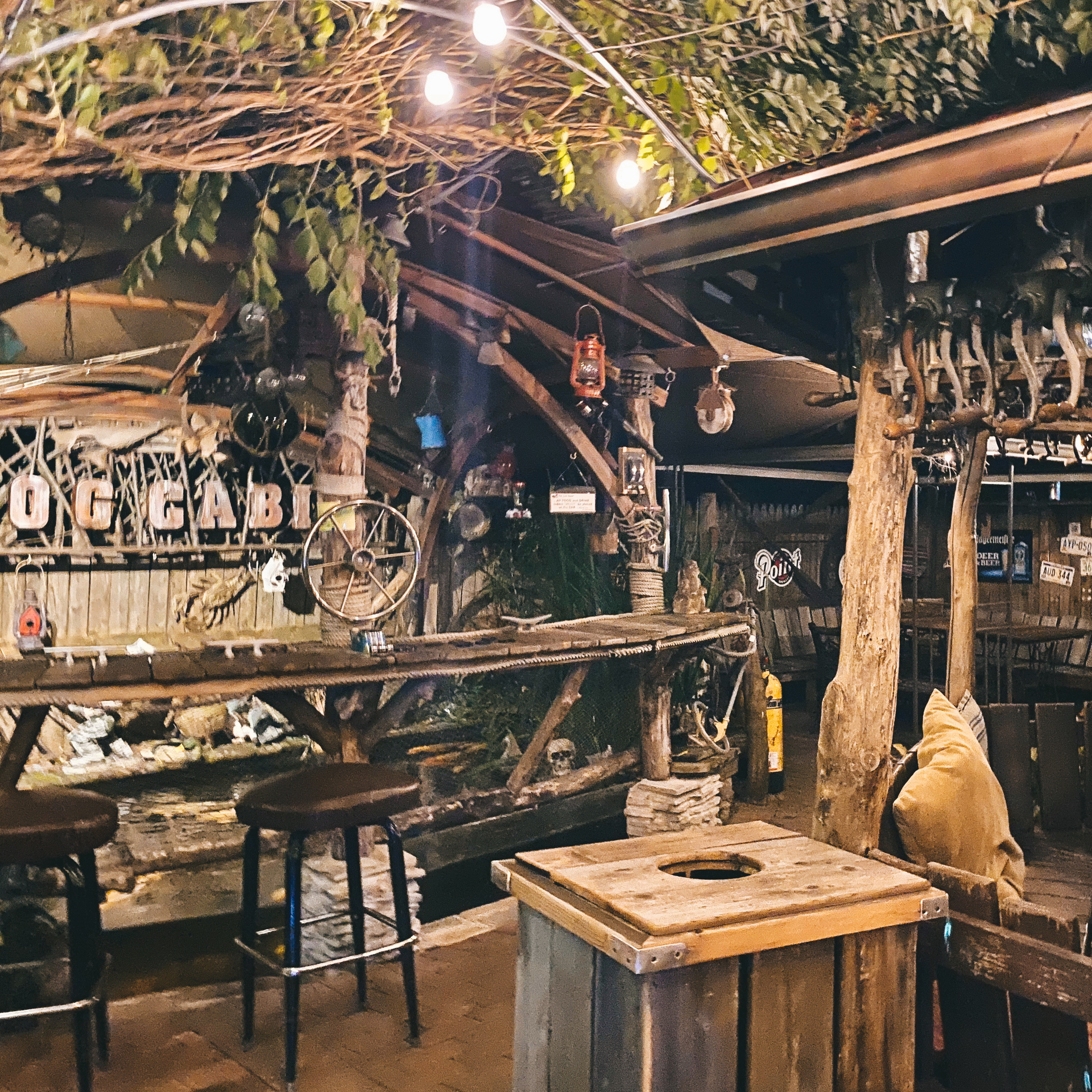 outside bar at The Log Cabin