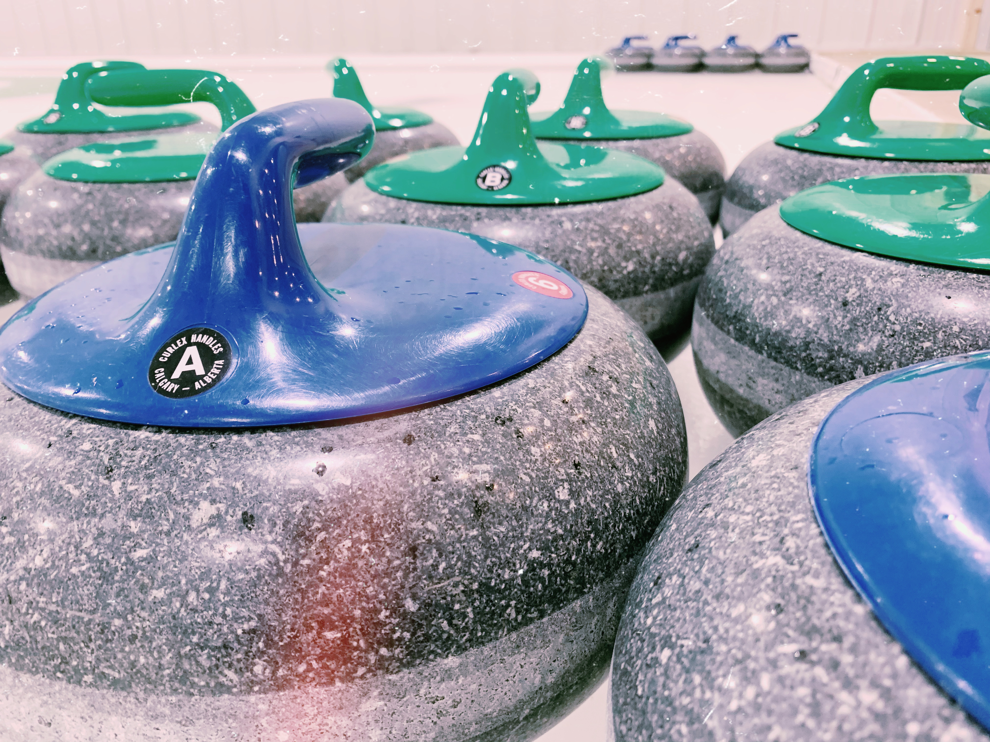 close up of curling stones