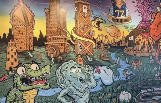 mural of Chicago and putt putt