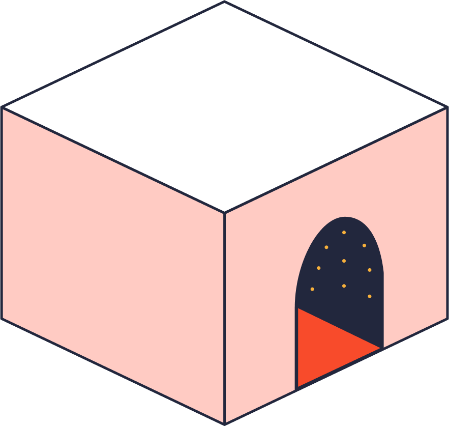Block with a door illustration