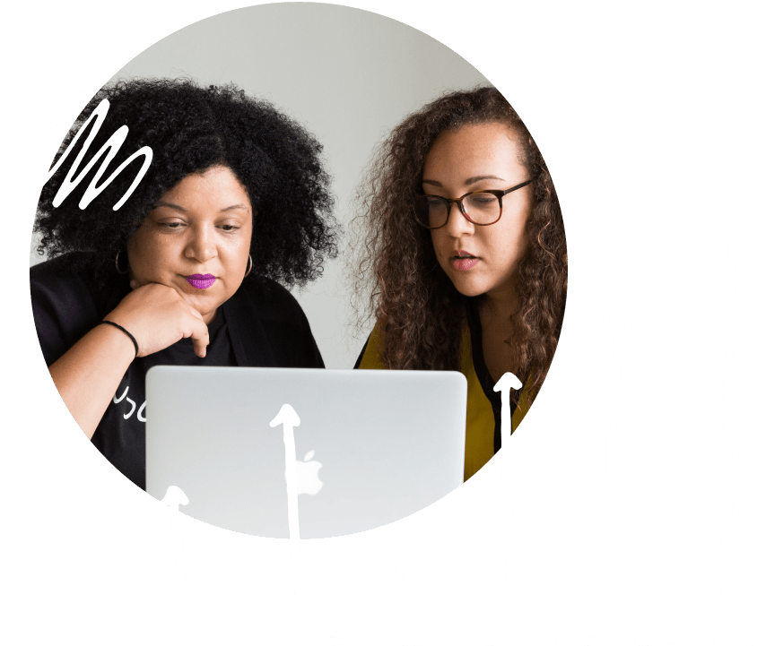 Composite image of two woman looking at a laptop together and line chart graphics.