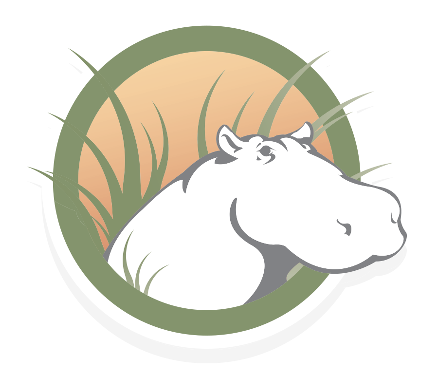 The logo of HippoCampus depicts a cartoon hippopotamus head peeking out from behind grass with sunny colors in the background.