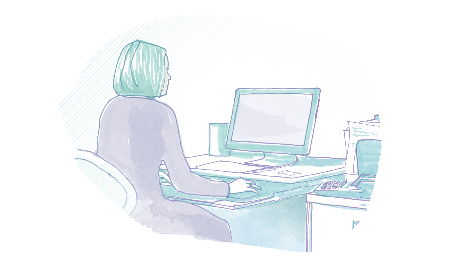 A hand-drawn illustration depicts an administrator sitting at her desk.