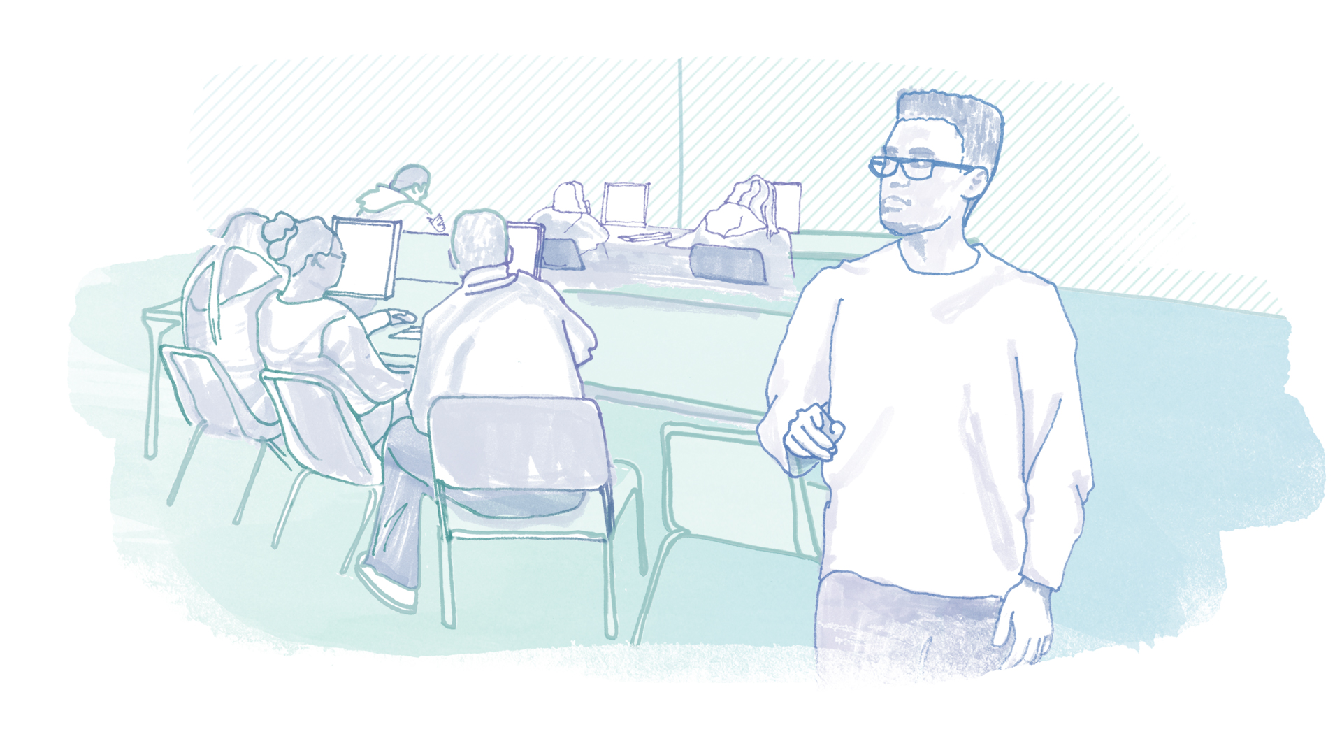 A hand-drawn illustration depicts a teacher standing in front of a classroom. Students are seen working at computers in the background.