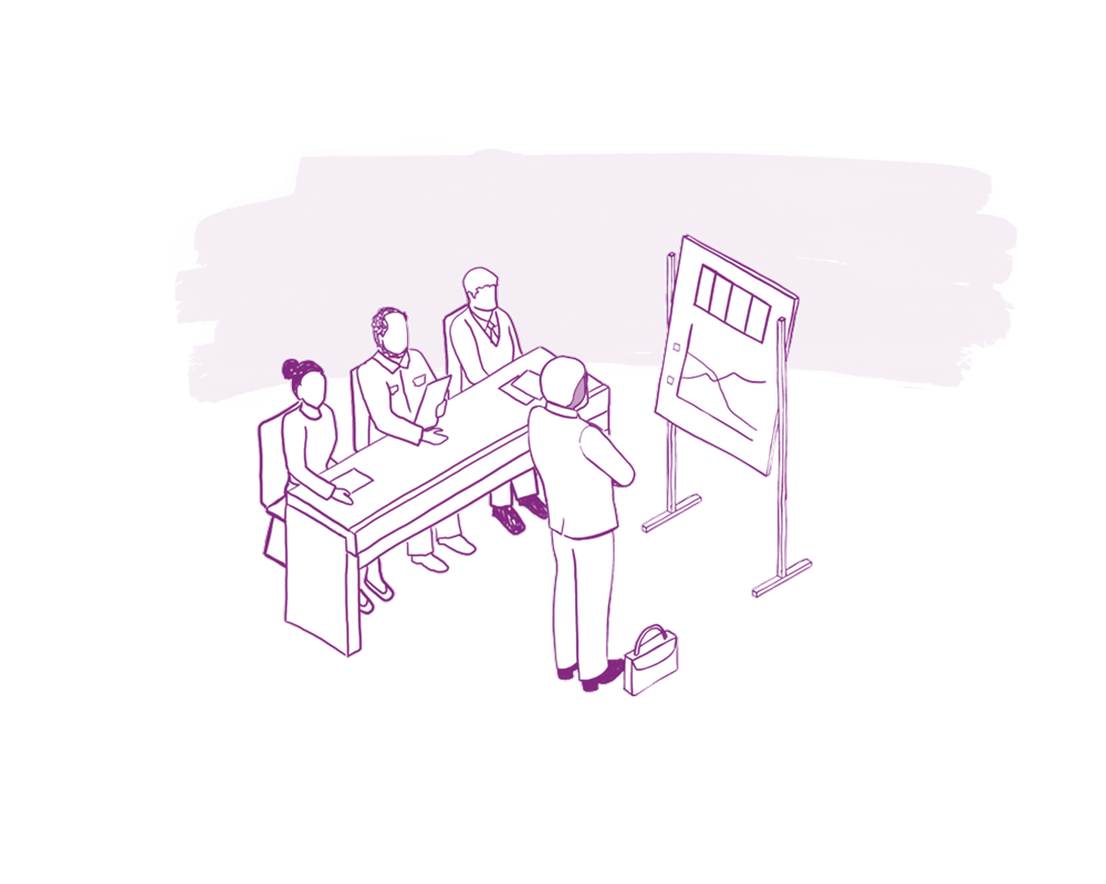 An illustration depicts three adults sitting at a table and one adult standing in front of a whiteboard with data.