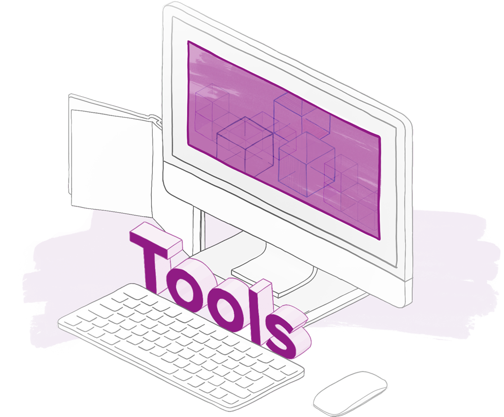 An illustration depicts a computer with abstract shapes and the word tools