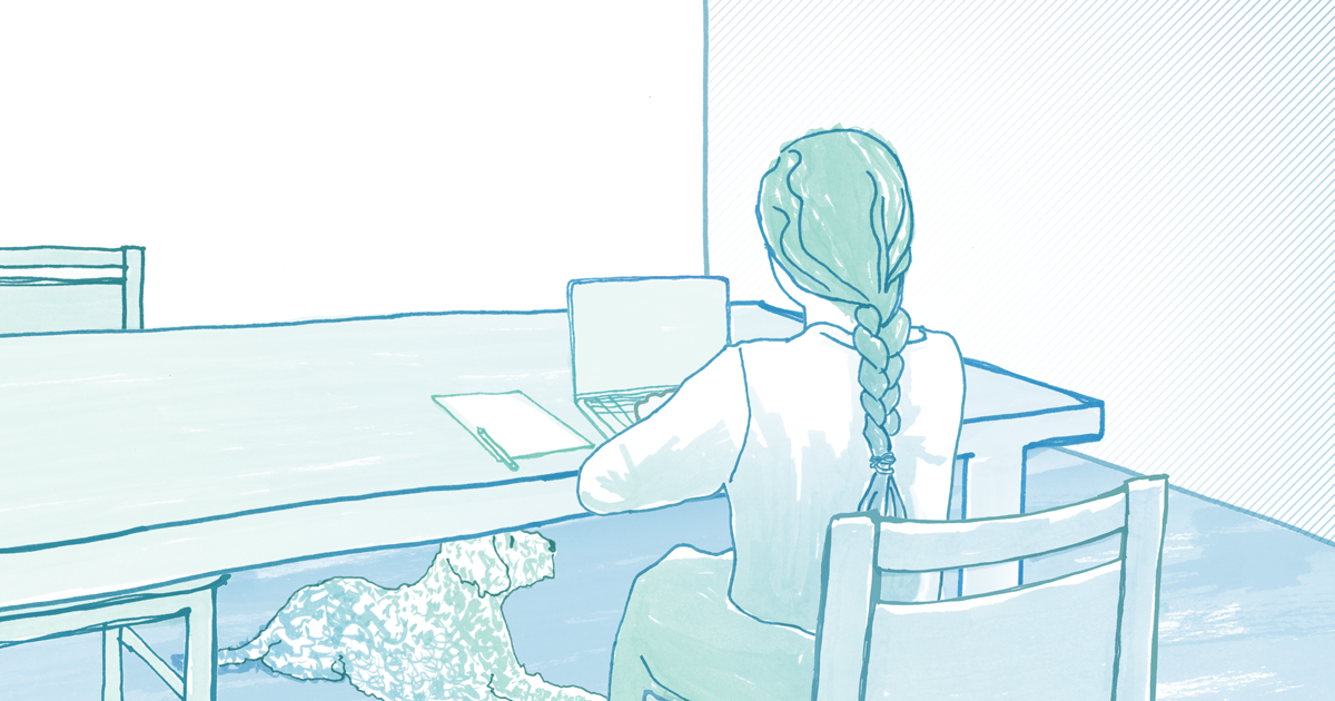 Illustration of a student sitting at a desk working on a laptop computer