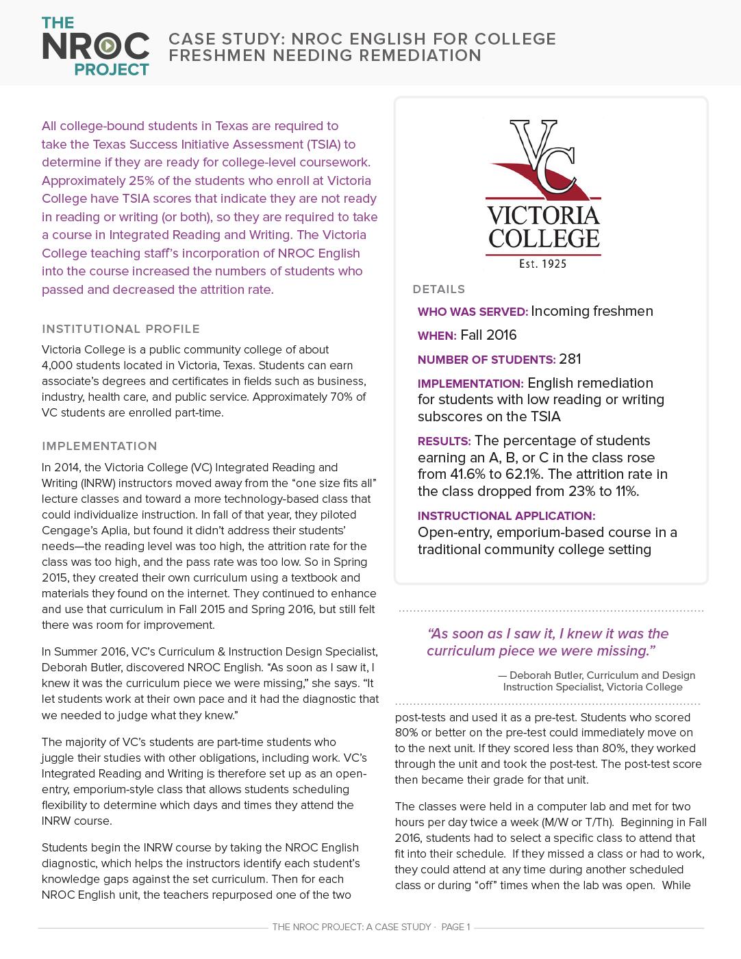 NROC English for College Freshmen Needing Remediation