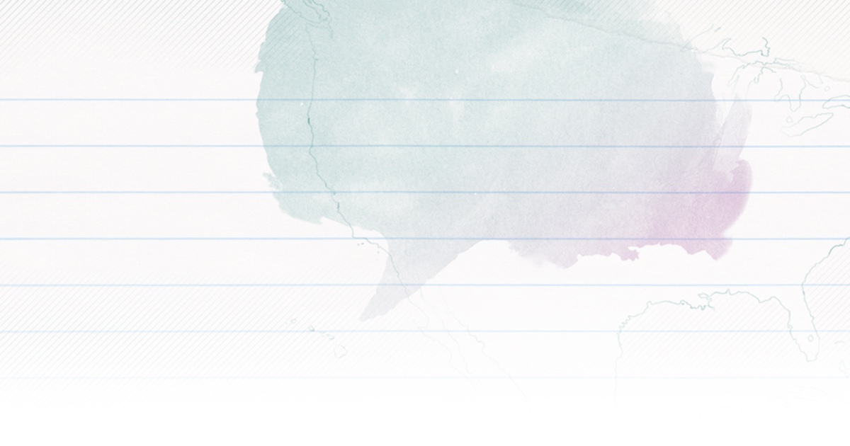 A gradient teal to purple watercolor question bubble atop lined notebook paper