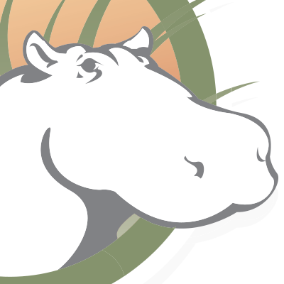 a zoomed-in view of the HippoCampus logo; a cartoon hippo face emerging from a circle filled with grass and an orange glos