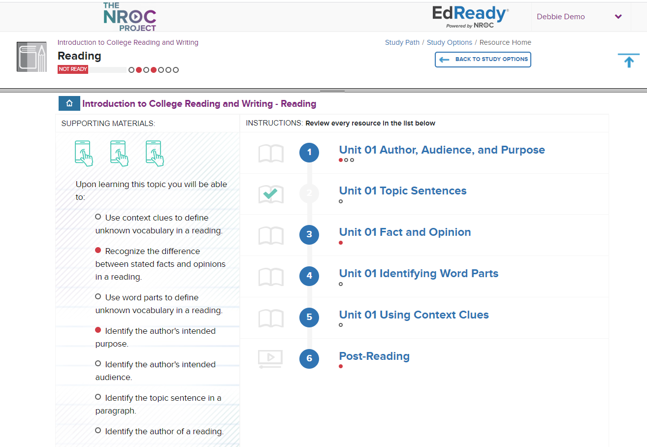 EdReady English interface including supporting materials iconography