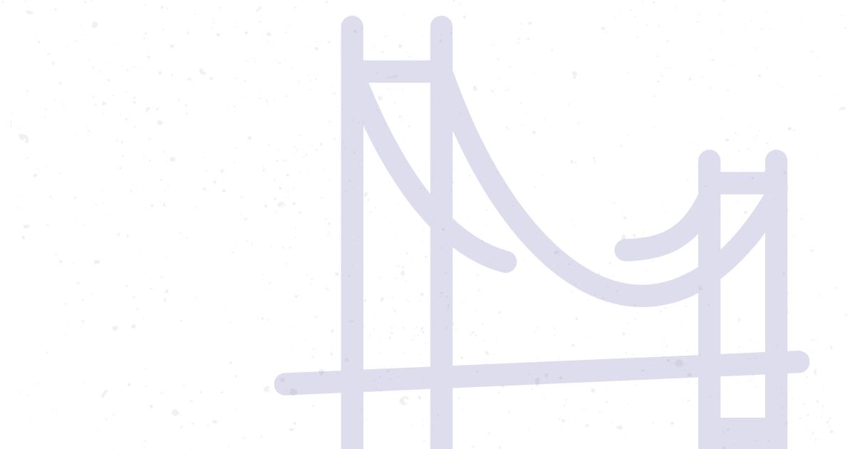 Purple suspension bridge graphic