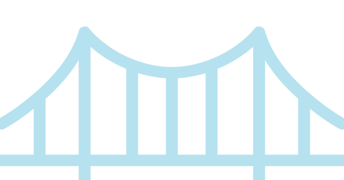 Blue suspension bridge graphic