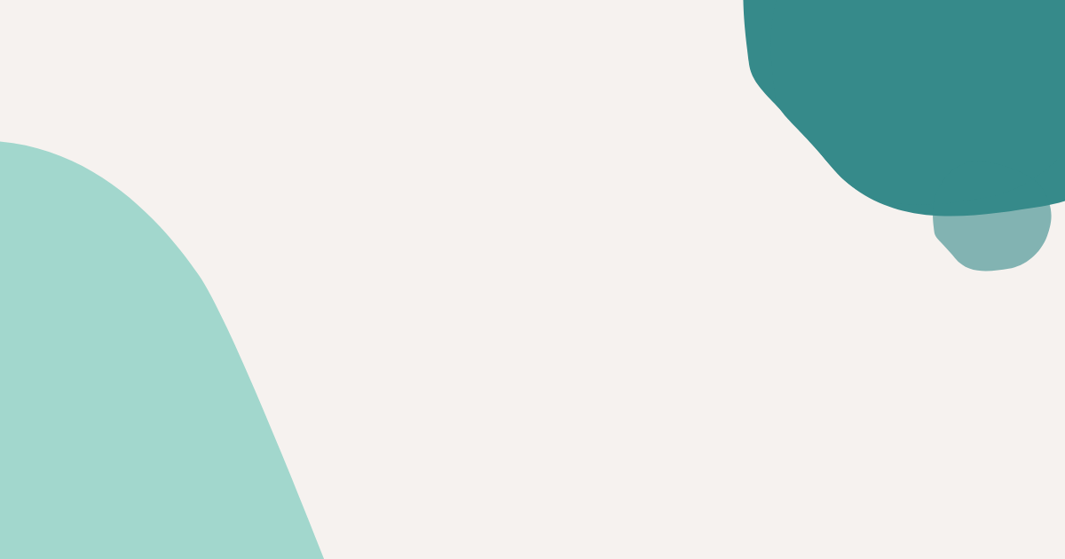 Mint and teal abstract blobs on an off-white background