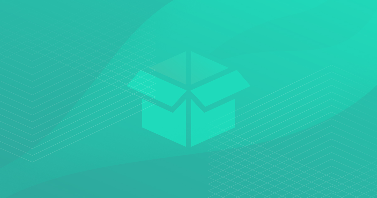 A teal-to-mint gradient background with a mint-colored open box in the center of the image