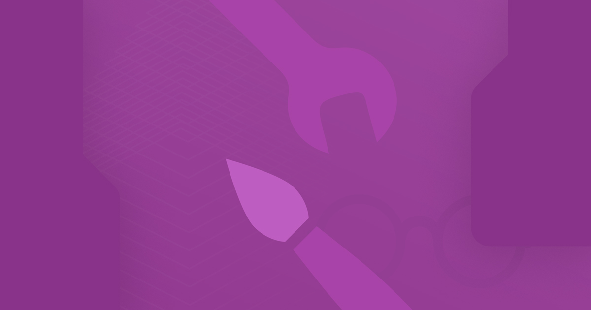 A gradient purple background with centered paintbrush and wrench icons
