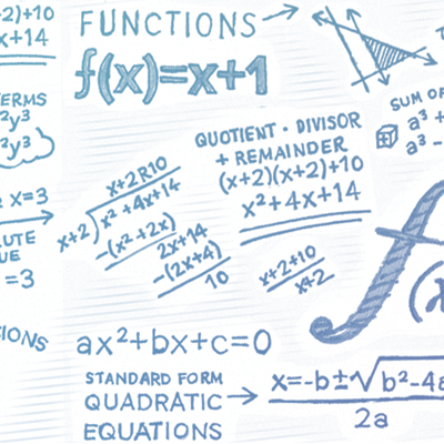 Functions, quadratic equations: hand-drawn notes from NROC Algebra 1 Course, Semester 2