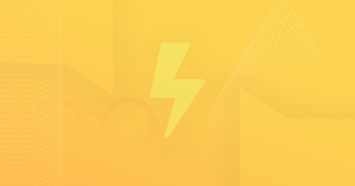 A yellow gradient background with a lightning bolt centered in the foreground