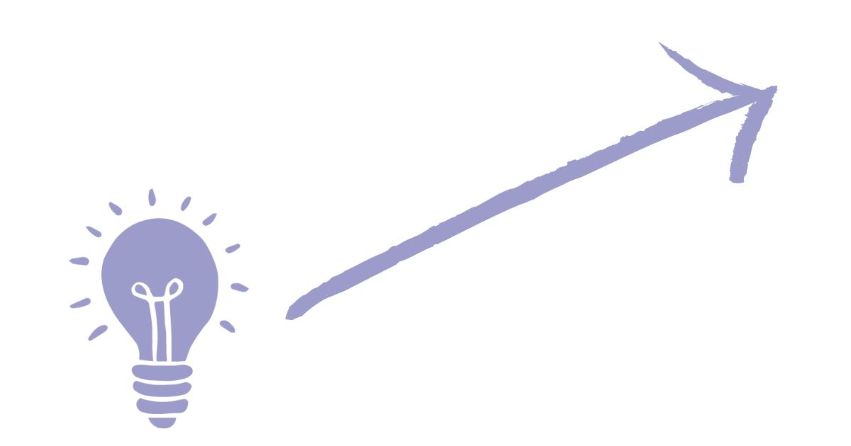 A purple hand-drawn lightbulb leads to a purple hand-drawn arrow pointing upwards