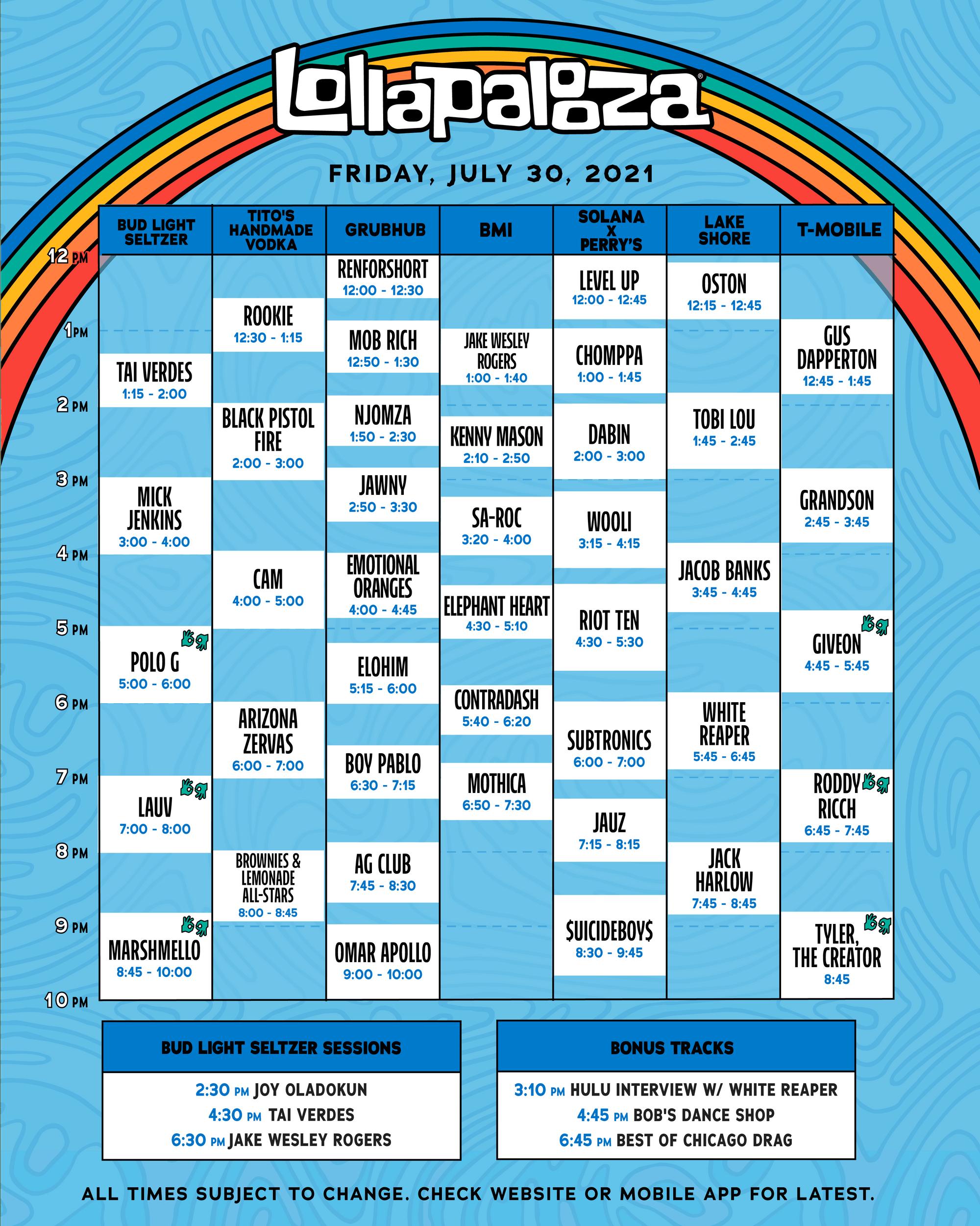 lollapalooza 2021 schedule
